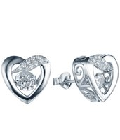 authentic diamond jewelry - Authentic Sterling Silver Heart Dangle Earrings Special Dancing Diamond Clear CZ Earrings Accessories Store Jewelry DE80820A