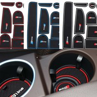Wholesale 14Pcs set Slie in car stickers Interior cup cushion car cup mat Gate slot pad for Audi Q7 to LHD Latex Anti non slip