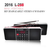 Wholesale 2016 L Mini Portable Rechargeable Stereo FM Radio Speaker LCD Screen Support TF Card USB Disk MP3 Music Player Loudspeaker