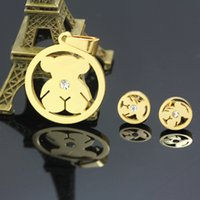american contains - Cute Bear L Stainless Steel Jewelry Sets Contain Earrings And Pendants chains not included SST037
