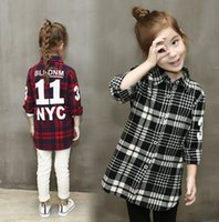 Wholesale In the autumn of new girls casual shirt children fashion Plaid Shirt cardigan coat in vain