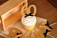 Wholesale Glitter Gold Number quot quot Party cupcake toppers inserts cards food picks wedding baby bridal shower Cake Accessories decorations