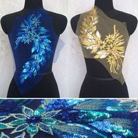 Wholesale 20 cm Blue Gold sequins embroidery cloth sewn without glue ear tail show dress decorative accessories