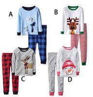 Wholesale New Boys Girls Suit Sets Spring Autumn Long Sleeve Christmas Pyjamas Sets Plaid Kids Homewear Children s Clothing Set