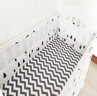 Wholesale Sets Nordic Style Cotton Prints Breathable Mesh Crib Bumper Beautiful Color Baby Bedding Bumper
