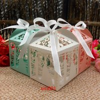 Wholesale 2016 new Laser Cut Bridegroom and bride Wedding Box in Pearl paper wedding party show candy box and gifts Box casamento