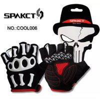 Wholesale New SPAKCT Silicone GEL Bike Bicycle Half Finger Skull Cycling Gloves Slip for mtb riding bike bicycle