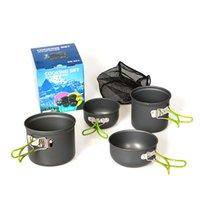 Wholesale Tinyinthebox TM Outdoor Camping pan Hiking Cookware Backpacking Cooking Picnic Bowl Pot Pan Set Piece Camping Cookware Mess Kit