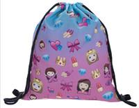 Wholesale 25pc x30cm stock oxford emoji Drawstring Bag colleage bags backpacks honestgirl09
