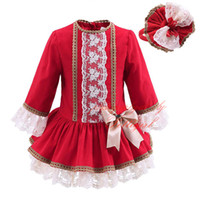 Wholesale Pettigirl Spring And Fall Boutique Girls Bow Dresses With Hairband Lace Patchwork Sleeves Kids A Line Wear Children Clothes G DMGD908