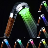 Wholesale Automatic Water Temperature Color Changing Negative Ion LED Handheld Shower Head