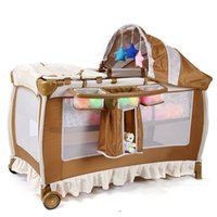 baby crib safety net - 2016 Multifunctional infant crib casters mosquito nets cot playpen portable safety folding Baby Cribs