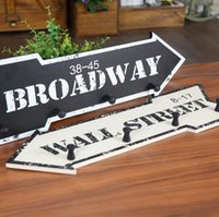 Wholesale Wood Wall Mounted Hanger Clothes Hat Hook Arrow Sign B W Broadway Wall Street