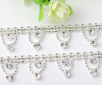 Wholesale 1 Yard row Sparkle Rhinestones Wave Tassels Pendant Silver Plated Flatback Ribbon Chain Trim For Sewing Craft Diy