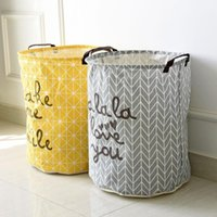 Wholesale Cotton Linen Zakka Vintage Storage Laundry Basket Large Capacity Yellow Grey Arrow With Handle Crown Linen Fold Bin x50cm