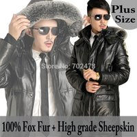 Wholesale Clearance Plus Size Mens genuine leather Down Coat Jacket With fox fur down Jacket fur sheepskin Coat Men Fur Black