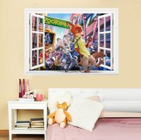 Wholesale 2016 Zootopia decals stickers Window Stickers Living room bedroom Zootopia children wall stickers wall stickers home decor