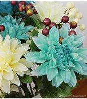 april falls - Silk flower wedding bouquet roses dahlias Artificial flowers fall vivid fake leaf wedding flower bridal bouquets decoration