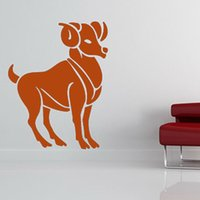 aries stickers - Chinese Zodiac Wall Sticker Goat Animal Mural Home Decor Vinyl Removable Aries Wall Decal For Living Room