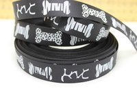 Wholesale New arrival yards quot black bone Printed Grosgrain Ribbon for hair accessories