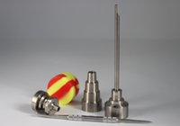 Wholesale Titanium Nail Kit GR2 Domeless in mm mm mm Bong Tool Set Carb Cap Dabber Slicone Jar for glass water pipes