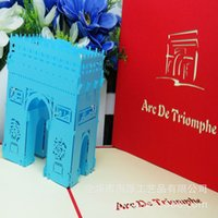 arch architecture - Lan Color Triumphal Arch Three dimensional Originality DIY Manual Architecture Greeting Card Can Come Picture Come Sample Customized