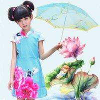 al por mayor chinese parasol-Paraguas muchacha Mini estilo chino de juguetes para niños hechos a mano del parasol del cordón de las lentejuelas de tela de Sun Parasol bordado paraguas ZA1287 regalo