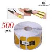 Wholesale 500 roll Gold Nail Art Tip Paper Tray Form Gel Extension Holder Guide DIY Arcylic UV LED Phototherapy Makeup Manicure Tool