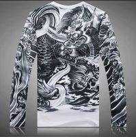 al por mayor japón camisa que adelgaza-Hombres camiseta casual ajustada delgada de manga larga Japón Diseño de arte del tatuaje de Japón Ukiyoe 100% algodón Tops de impresión de patrón del dragón