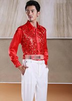 Wholesale In the latest version of man shirt sparkling sequins wedding dinner party dress shirt a variety of colors available