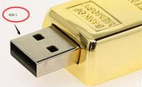 Wholesale DHL shipping Gold bar GB GB GB USB Flash Drive in metal Pen Drive USB Memory Stick Drive Pendrive2016 new arrived