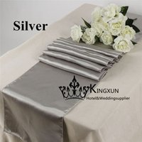 Wholesale Silver Color Satin Table Runner For Wedding Table Cloth