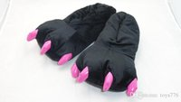 adult fuzzy slippers - Adult Cute Plush Animal Paw Slippers Fuzzy Warm Indoor Shoes