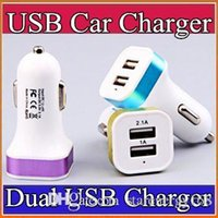 Wholesale 100X Dual port car usb charger adapter for iphone S S Plus samsung galaxy s7 Note4 usb Universal car charger N SC