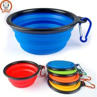 Wholesale Silicone Collapsible Feeding Bowl Dog Water Dish Cat Portable Feeder Puppy Pet Travel Bowls SI