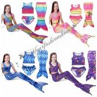 Wholesale DHL Fedex Free Set Girls Kids Mermaid Tail Swimsuits Mermaid Bikini Sets Girls Beach Mermaid Swimwear Swimming Costumes M86