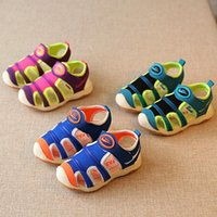 Wholesale 3 Colors Boys Shoes New Baby Boy Antislip Sole Sandals Kids Boys Cow Muscle Flats Leather Sandals Children Breathable Shoes SDB1100