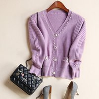 acrylic long nails - Europe and the United States women s new autumn Fashion cardigan nail bead v neck sweater coat