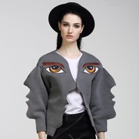 Wholesale HIGH QUALITY Fashion Runway Designer Jacket Brand Women D Wave Cutting Eyes Embroidery Face Coats Oversize Outerwear