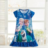 Wholesale Summer Children s Frozen Clothing Cartoon Elsa Anna Princess Picture Baby Girl Homewear Dresses Pajamas Kids Cartoon Dress