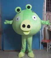 big pig music - Lively Green Pig Hog Swine Mascot Costume Adult Size With Big Green Globe Head Red Mouth Big Nose Thin Arms Legs