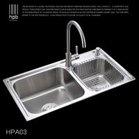 Wholesale Han Pai Stainless Steel Double Bowel Thicken Square Brushed Artesanato Kitchen Sink Faucet Fregadero HPA03