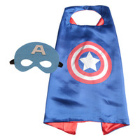 Wholesale new70 CM Double Side kids Superhero Cape Batman Ninja Turtles Spiderman Captain America Supergirl kids capes with mask in stock