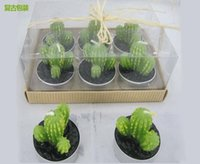 Wholesale 12pcs Green cactus Candle Wedding Baby Shower Birthday Souvenirs Gifts Favor Packaged with PVC Box