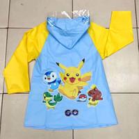 Wholesale New Children Poke Pikachu Rain Gear Baby Kids Girls Cartoon Student Raincoat Poncho Pocket Monster Gifts HH R01
