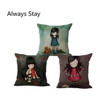 Wholesale New Arrival Lonely Girl Cushion Throw Pillows Case Polyester Cotton Linen Pillowcase Cojines Capa Para Almofada