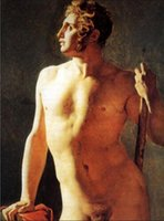 art of caning - Hand painted Art Oil painting Study of a Male Nude standing with Cane canvas For Living Room