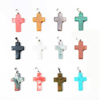 Wholesale New Arrival x19mm Cross Shape Semi Precious Natural Stone Beads Pendant Charms For Necklace Making Jewelry Accessory
