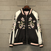 baseball jackets custom - High end custom new European and American embroidery Heavy wear on both sides flight jacket female Baseball coat