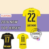 Borussia Dortmund camiseta de fútbol 2016 2017 REUS AUBAMEYANG MKHITARYAN WEIGL PULISIC 16 17 Tailandia Camisetas de fútbol de calidad